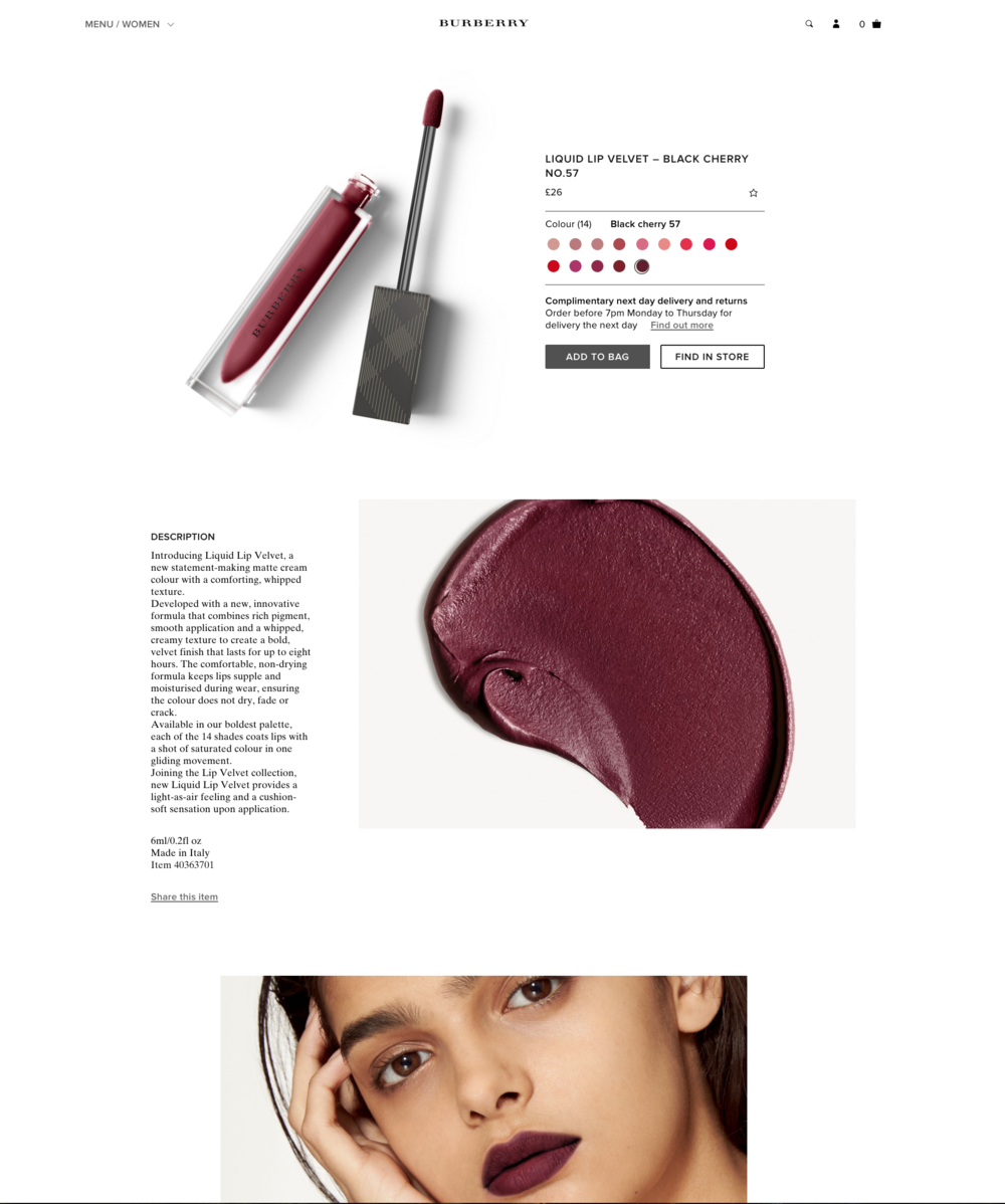 BURBERRY BEAUTY / LIQUID LIP VELVET / BEAUTY RETOUCHING