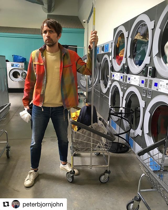 #Repost from @peterbjornjohn because we all got that Young Folks whistle tune going through our heads on this sunny day. Thanks for stopping by #spinbroadway 🌀❤️ ・・・ Hey it aint fun.. but even poprock singers gotta do their washing up!! 3 first who inboxes us now with full name gets free guestspot for tonights #soldout show at @dougfirlounge #portland #darkerdaystour (also I saw theres people selling ticks in the Facebook-event too so check that out.)