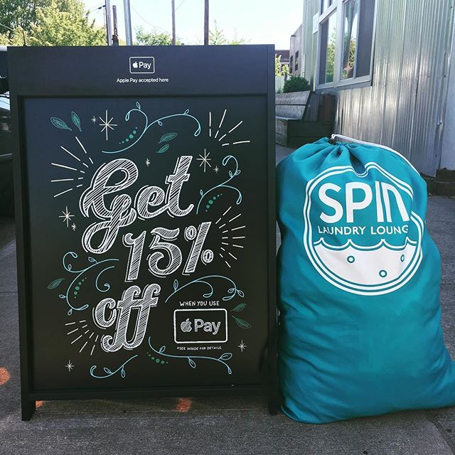 ApplePay Day is back at Spin Fremont! This weekend 5/3-5/5 enjoy 15% off when you pay with ApplePay in either the Soap Shop or Cafe (excludes alcohol). Just ask an attendant for assistance. Thanks @square for the laundry day assist! 🌀❤️👗🤳 #squareup #applepay #spinfremont #eatdrinklaundry #laundromat #cafe #portland #oregon
