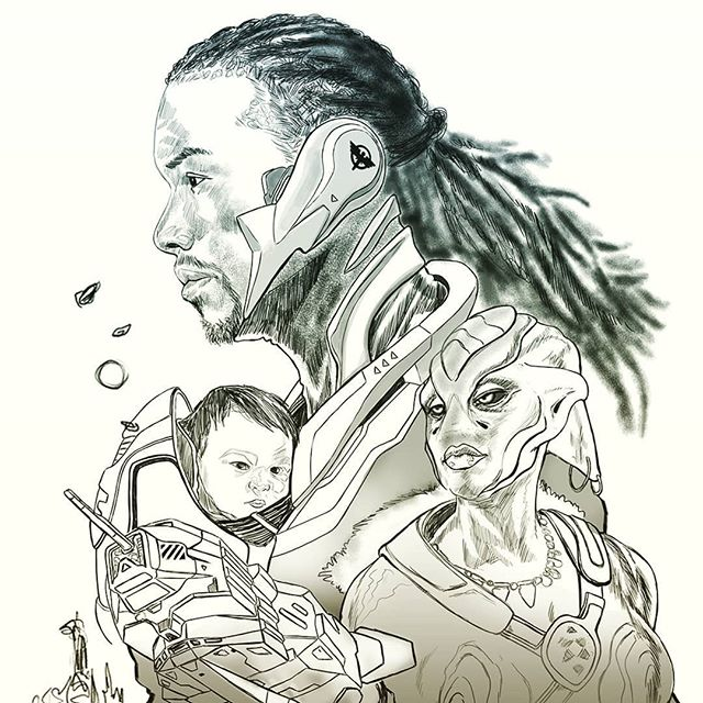 Line drawing for an upcoming bookcover. Happy to include my daughter in this one from when she was a week old.  Spaceships, Aliens, and dreads Oh my!  #scifi #afrocentric #blackmen #afrofuturism #concept #sciencefiction #characterdesign #africanart #futuristic #yoruba #scifiart #blackart #dopeblackart #melaninart #melaninpoppin #blackisbeautiful #nigerian #tribal #drawing #imaginativerealism #instagood #instaart #designer #fantasy #baby @gg_rodgers