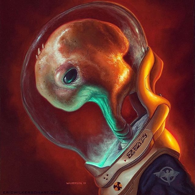 "Been busy doing stuff I can't show for now, so thought I'd share one of my favorite oil paintings. Old to me, new to somebody. ""Kush"" oil on panel 20""x 22"" K'Shalakaz Nychook, affectionately named Kush is wearing a human made standard issue Encounter suit with modified helmet and visor for its uniquely large head.  Its spacesuit is designed to re-create the environmental conditions of its atmosphere.  Over the years people have said it looks like an embryo or a pork chop. What does it look like to you?  #scifi #afrocentric #afrofuturism #concept #sciencefiction #characterdesign #africanart #futuristic #scifiart #blackart #imaginativerealism #instagood #instaart #instadaily  #portraitpainting #oilpainting  #portrait #artgallery #painting  #artsanity #artist #arte #traditionalart #art #artwork #maquette #instapic #artoftheday #figurativeart  #artistsoninstagram"