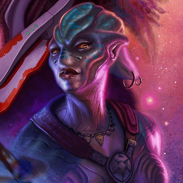 Detail of the alien hottie from a recent cover. She may be a lil slimy but she's all woman. 😁😍🖖 #scifi #afrocentric #afrofuturism #concept #sciencefiction #characterdesign #africanart #futuristic #scifiart #blackart #imaginativerealism #instagood #instaart #instadaily  #portraitpainting #digitalart #portrait #artgallery #painting  #artsanity #artist #arte #art #artwork #maquette #instapic #artoftheday #figurativeart #artistsoninstagram