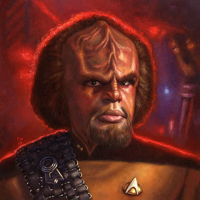 """Son Of Mogh"" Oil on Panel, 10""x 10"" The man of two worlds...Worf, Son of Mogh is now available on @everydayorig  for #NewbieNovember . This was a super quick and fun little portrait and I hope to find time to do more of the TNG crew.  In honor of the 50th anniversary of Star Trek I created a portrait of a character that starred in more episodes and feature films than any other character in the history of the franchise, with the exception of Majel Barrett who provided the voice of the computer in every series from TOS to ENT.  Bring HONOR to your house with a painting made from the blood and bones of Duras himself!!! #scifi #afrocentric #afrofuturism #drawing #sciencefiction #africanart #futuristic #scifiart #startrekfanart #imaginativerealism #instagood #instaart #instadaily  #portraitpainting #oilpainting  #portrait #starfleet #sonofmogh  #trekkie #artist #startrek #traditionalart #art #artwork #instapic #artoftheday #figurativeart  #artistsoninstagram"