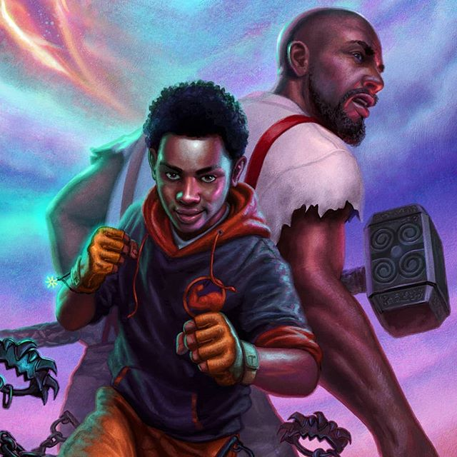"""My new book cover for Disney Publishing. """"TRISTAN STRONG PUNCHES A HOLE IN THE SKY"""" written by @mbalia1 ! When a seventh-grader punches a rip into another dimension, he falls into a realm where folktale heroes with incredible power need his help to stop a terrifying evil… IT'S ABOUT TO GO DOWN!!!! Big thanks to the wonderful team at Disney for the opportunity to doing more of what I love to do. Pub date Jan 2020! The vast worlds of West African and African American mythology await you!! #scifi #afrocentric #blackmen #afrofuturism #sciencefiction #characterdesign #africanart #rickriordanpresents #westafrican #scifiart #blackart #dopeblackart #melaninart #melaninpoppin #blackisbeautiful #nigerian #tribal #imaginativerealism #instagood#instaart #fantasy  #illustration #coverart #instadaily #digitalart #supportblackart #imaginative"""