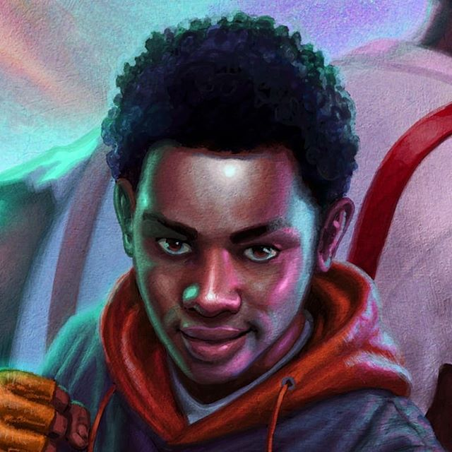 For the final painting,  my art director asked for the kid to have a darker complexion than how I had him in my sketches. Which meant the opportunity for lots of reflected colors in his skin.  During the sketch stage I thought It'd be wild to show Tristan throwing up the raised fist black power salute from the 60's. That probably would've been  too controversial for a MG book though. I was thinking more giant fantasy dwarf looking hammer too but happy it got scaled down. @mbalia1  #scifi #afrocentric #blackmen #afrofuturism #sciencefiction #characterdesign #africanart #rickriordanpresents #westafrican #scifiart #blackart #dopeblackart #melaninart #melaninpoppin #blackisbeautiful #tribal #imaginativerealism #instagood#instaart #fantasy  #illustration #coverart #instadaily #digitalart #supportblackart #imaginative #blackexcellence
