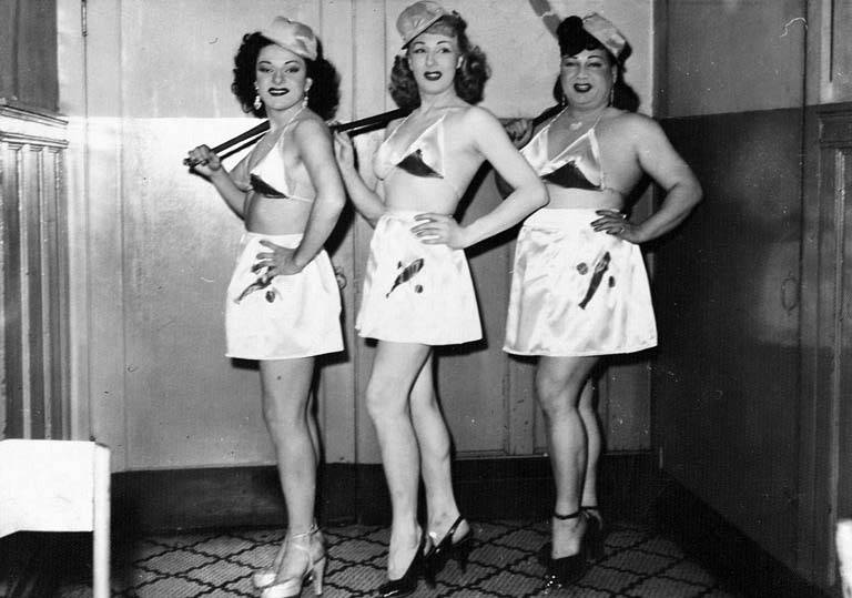 Tonya Del Raye, Jackie Starr and Hotcha Hinton dressed for the baseball routine at the Garden of Allah, Seattle, ca. 1950