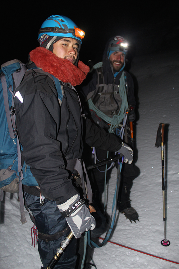 Louis and Nico suited up for some pre-dawn glacier travel.