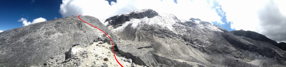 Looking up from the second slab towards the faint arête and the entrance to the glacier.