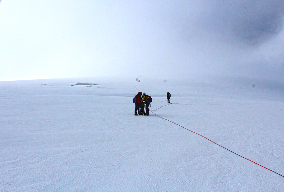 Seen on the descent: climbers ascending the glacier as we were descending, having had the summit to ourselves.