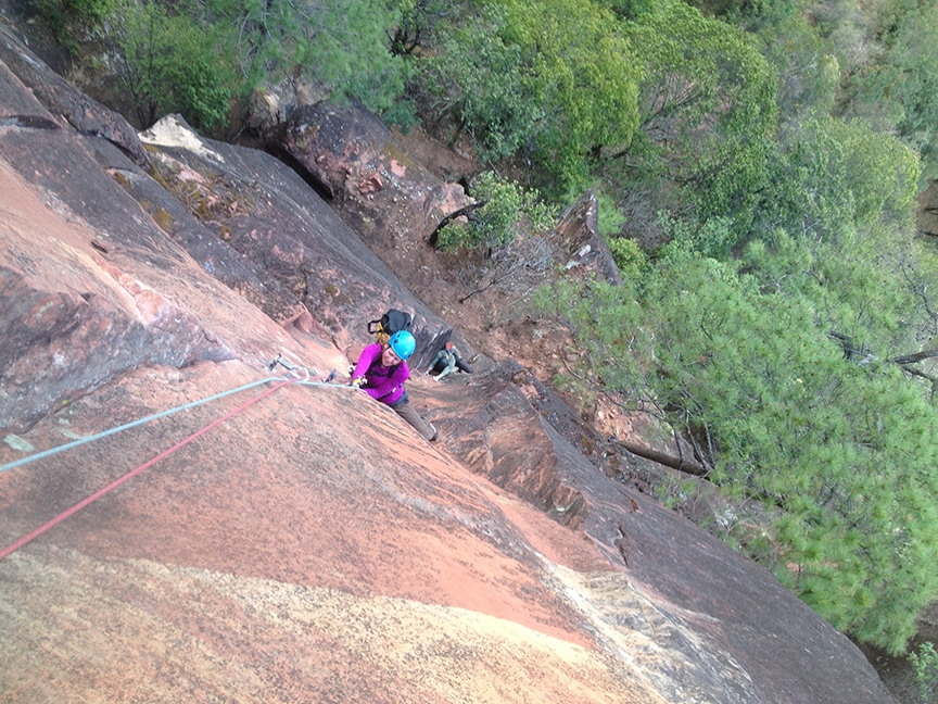 Ana Pautler on the crux pitch of  Back to the Primitive