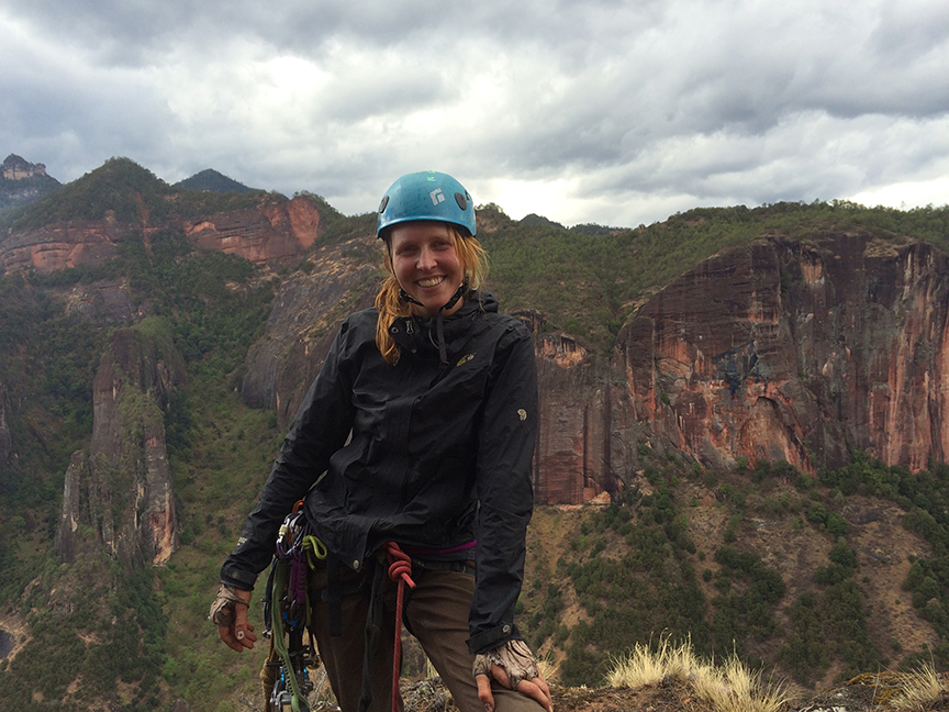 Ana Pautler, one of the authors of the new Climb China guidebook, mugs atop  Back to the Primitive .