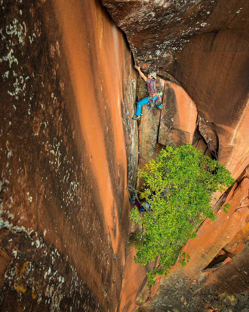 Leaving the only rest stance before the powerful, long crux section of P3 of Elephant Ryders.  © Irene Yee/Lady Lockoff Photography