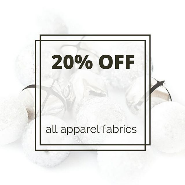 Hark come the bells!! 20% sweet savings off of all apparel fabrics today! Rayons, knits, canvas and more. Woot woot!!