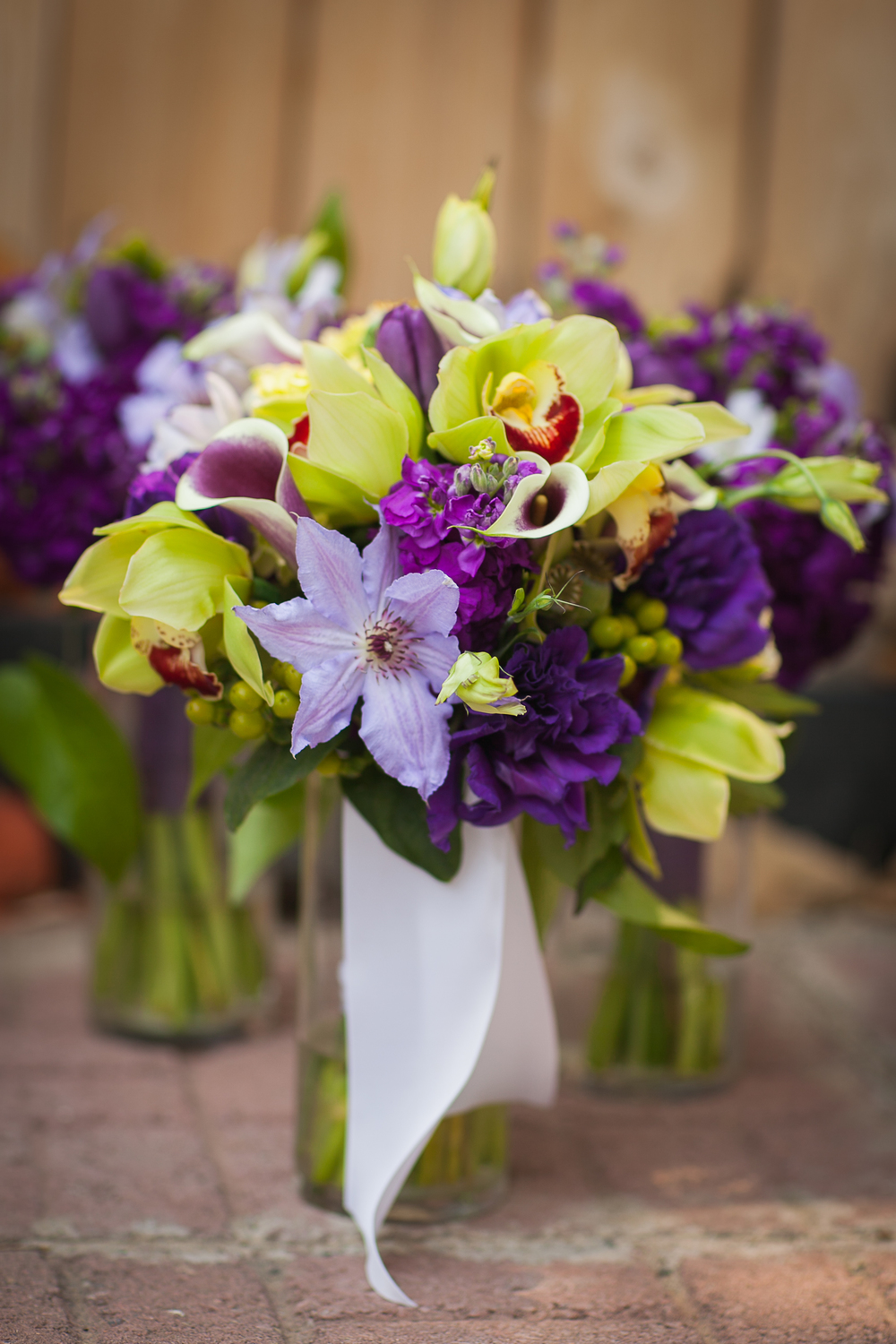 Purple and green bouquet, orchids, Grand Junction Florist, Three Leaf Floral