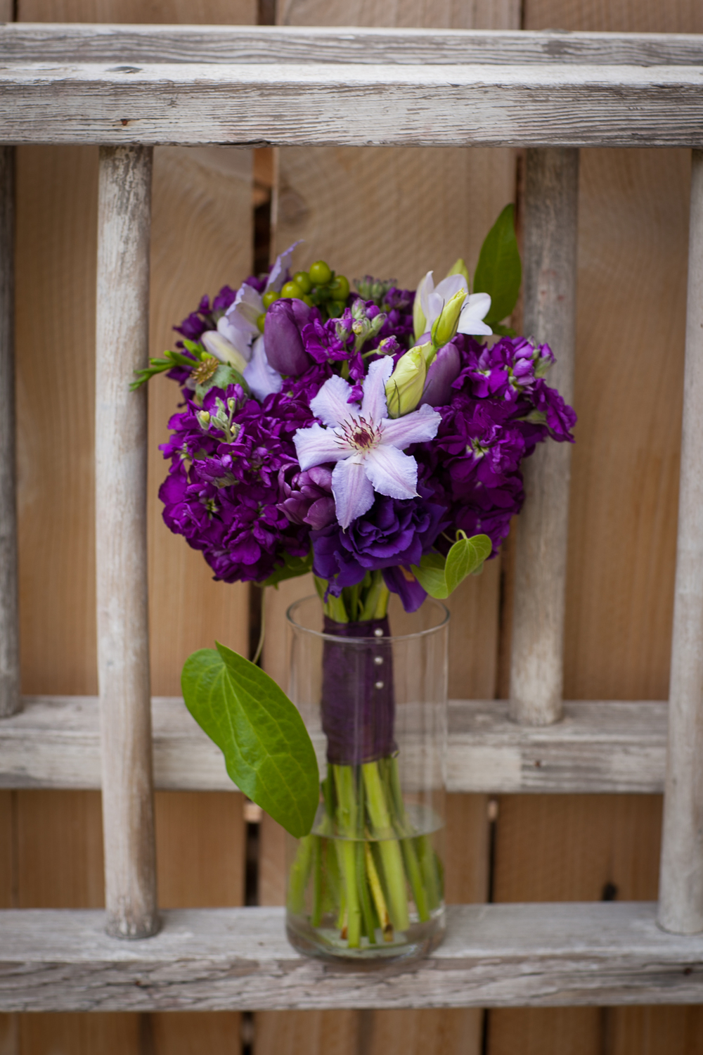 Purple bridemaid's bouquet, grand junction wedding florist, three leaf floral
