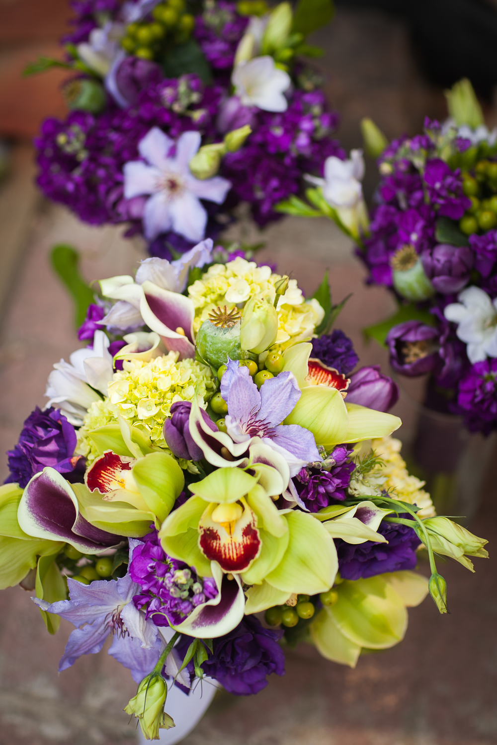Purple Bouquets, Grand Junction Wedding Florist, 3 Leaf Floral