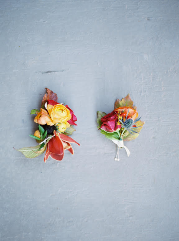colorful boutonnieres 3 leaf floral