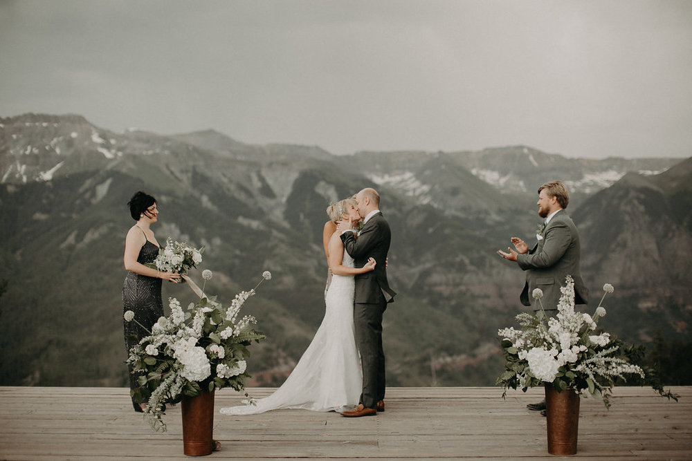 First kiss on the top of San Sophia Overlook, Telluride Colorado