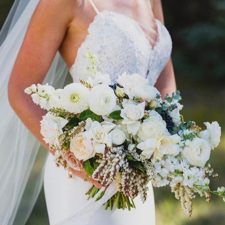 White Wedding flowers Colorado wedding