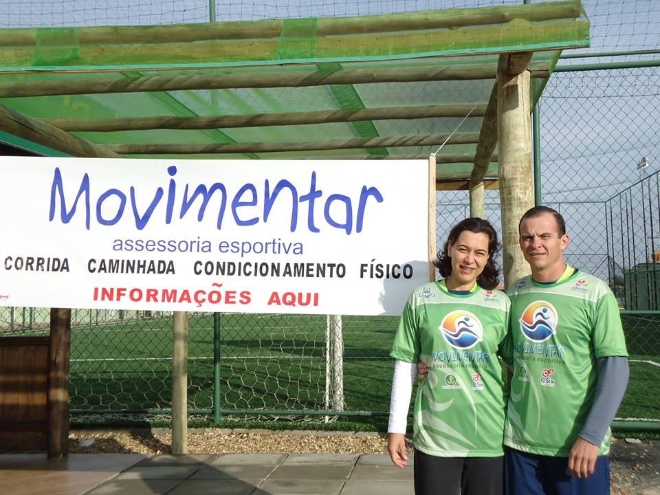 Célia e Osmar no dia da inauguração da Movimentar Assessoria Esportiva, na cidade de Cerquilho/SP