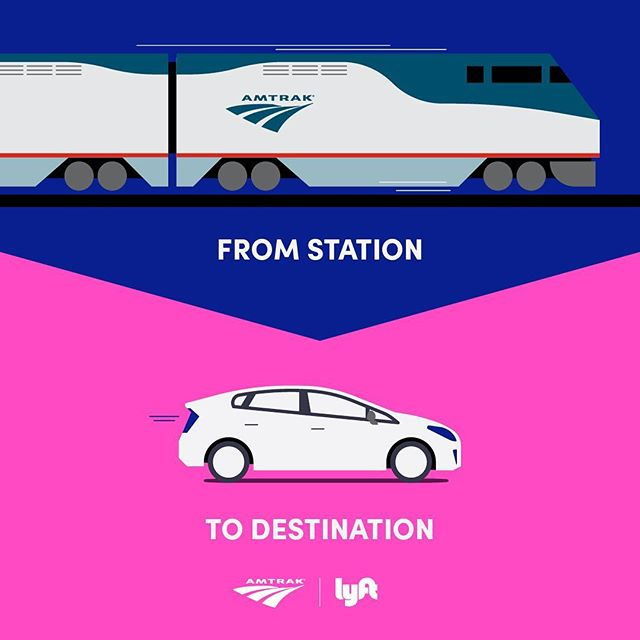 Because normal billboards don't move fast enough, we put one on a train. Check out our work on the campaign announcing the partnership between @Lyft and @Amtrak. #artdirection #graphicdesign #illustration