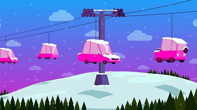 Our partnerships often rely on generating several ideas while on the road to get where we need to be. That includes this Lyft concept illustration to visualize content for their new partnership involving taking customers to a ski resort. #graphicdesign #illustration #conceptart