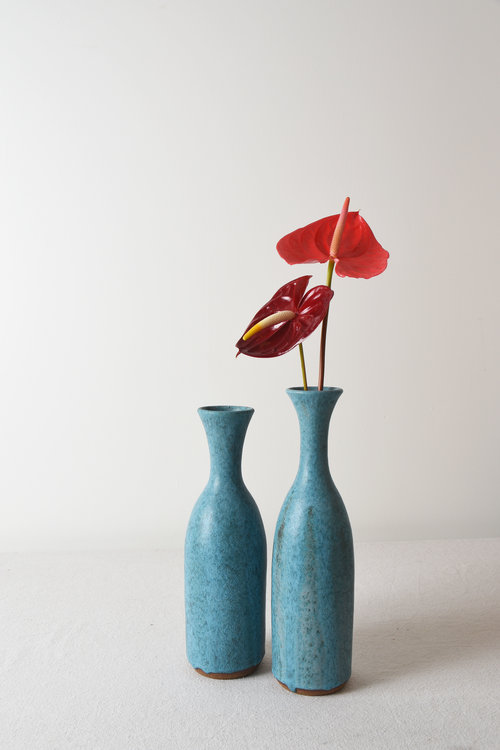 Tall Thin Turquoise Bottle Vases Mmhp Ceramics