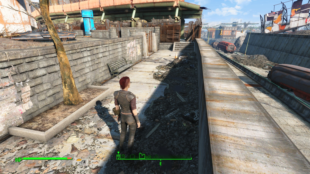 Fallout 4    (Bethesda Game Studios, 2015) is an example of a video game with the option to use a third-person visual perspective. A player sees the character's body, usually from behind, with the option to rotate the game's camera around for a complete view of the character and environment. Personal screenshot.