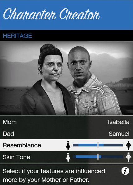The heritage option in the  GTA Online  character creation screen in a personal screenshot from  Grand Theft Auto V , by Rockstar North, September 17, 2013.