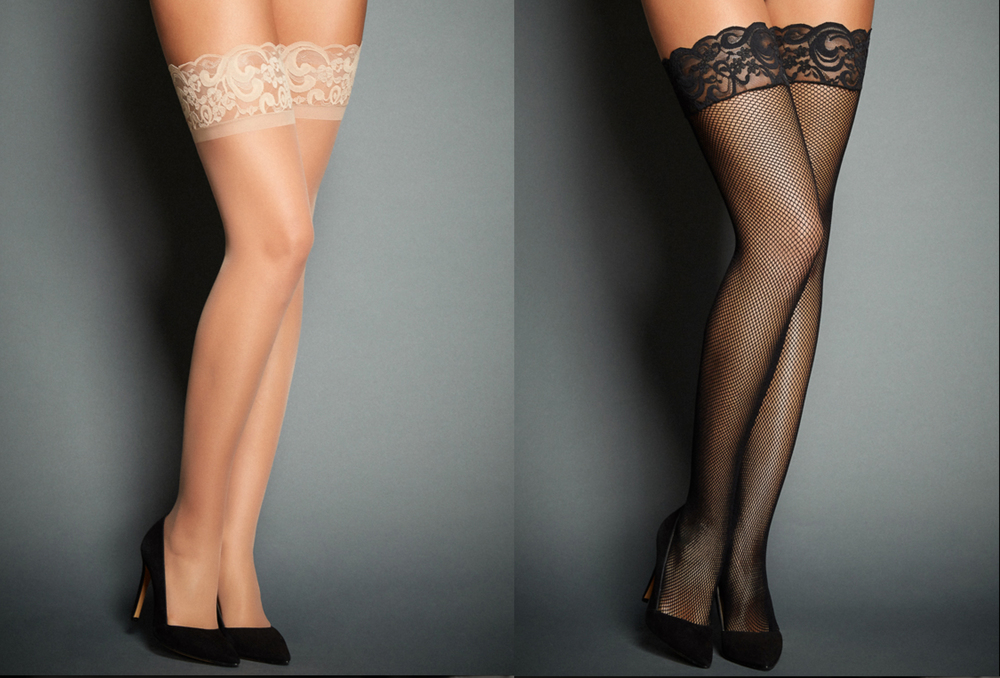 LEFT: NUDE SCALLOPED LACE TOPRIGHT: BLACK SCALLOPED LACE TOP FISHNETS. BOTH BY FREDERICK'S OF HOLLYWOOD (www.fredericks.com)