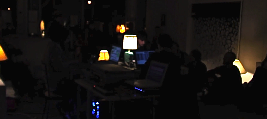 PERFORMANCE:  Music for Lamps is an installation and performance work for 12 sound and light emitting lamps by laptop trio Adam Basanta, Julian Stein, and Max Stein. The piece was part of the second season of 24 Gauche, a monthly curated sound art event by Magali Babin and Patrice Coulombe.  link:  http://24gauche.blogspot.ca/2012/04/24gauche-25-avril.html