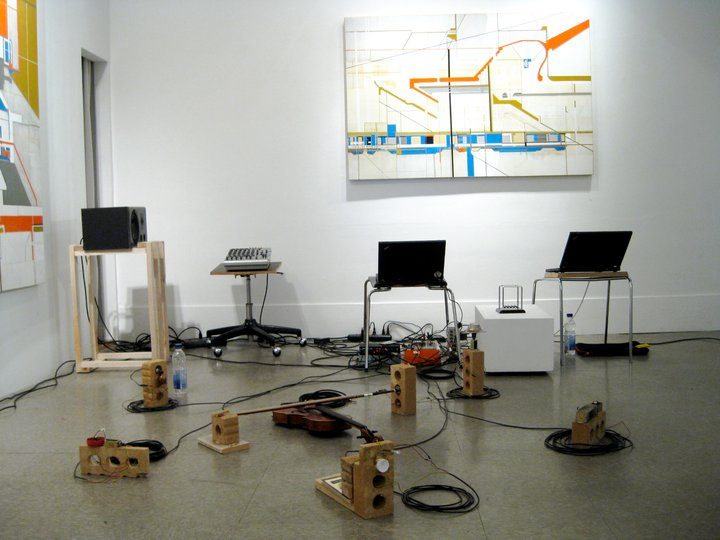 INSTALLATION/PERFORMANCE: A collaborative performance in 4-channels with Maxwell Stein, featuring a solenoid motor orchestra and acoustic sculptures made of found objects.  The peformance was part of 24 Gauche, a monthly curated sound art event by Magali Babin and Patrice Coulombe in Montréal, QC. link: http://24gauche.blogspot.ca/2010/11/blog-post.htm