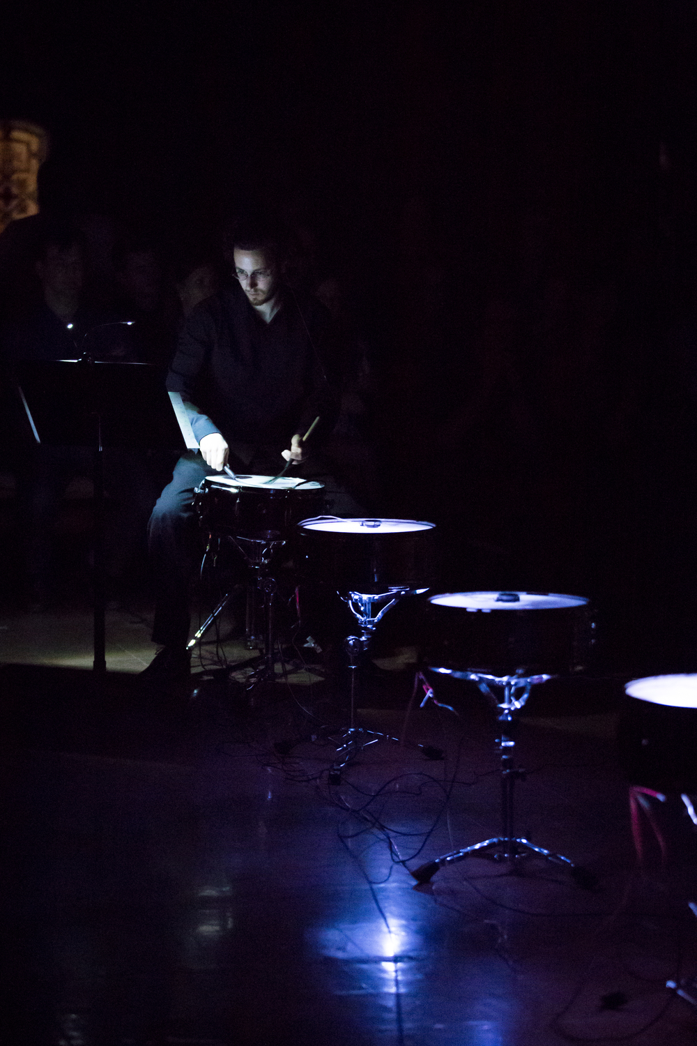 in levitation, lightness  (2015) is a work for brass quintet, electronics, and light producing snares, featuring variations on a theme in stasis.   The piece was curated and performed by ensemble  Magnitude 6  for the show  Constellations,  presented at Le Gesù in Montreal, QC on June 3/4, 2015.  http://magnitude6.ca/in-levitation-lightness/