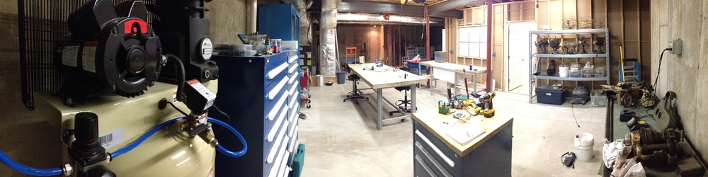Panoramic shot showing the whole shop as it comes together.