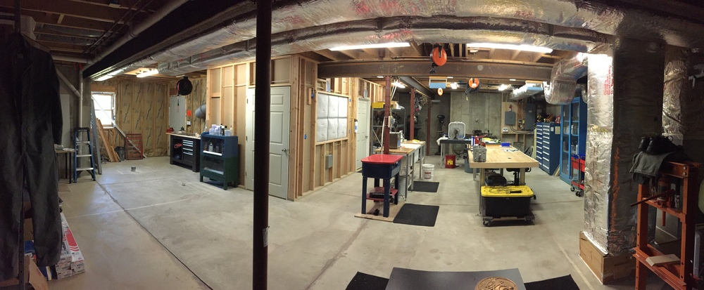 "The full shop. The center bench is a 9' slab of 2.5"" thick rock maple bowling alley lane!"