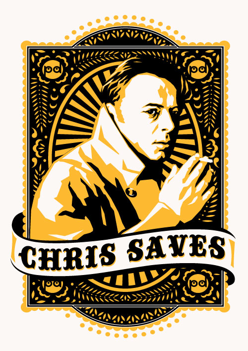 Chris Saves Hand Screen Printed Art ©Poynter Design