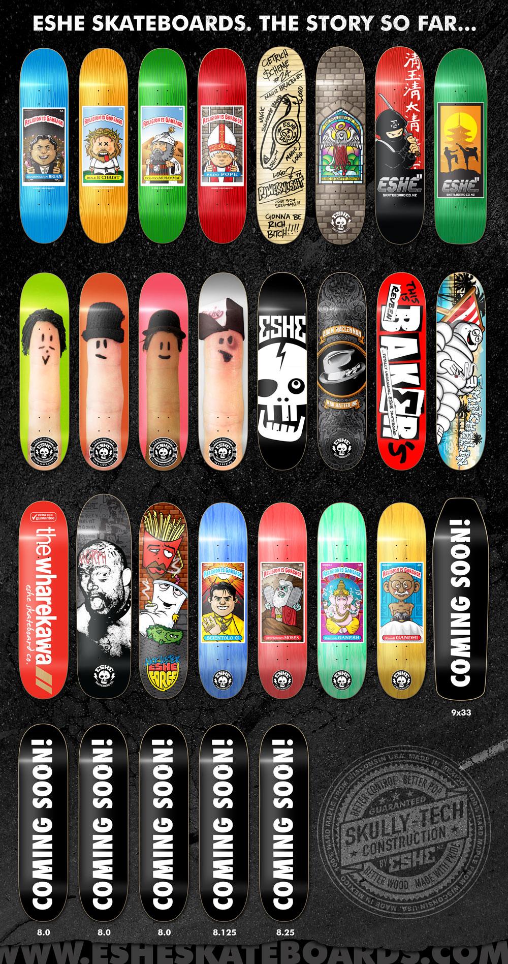 Skateboard Decks designed for  Eshe Skateboards