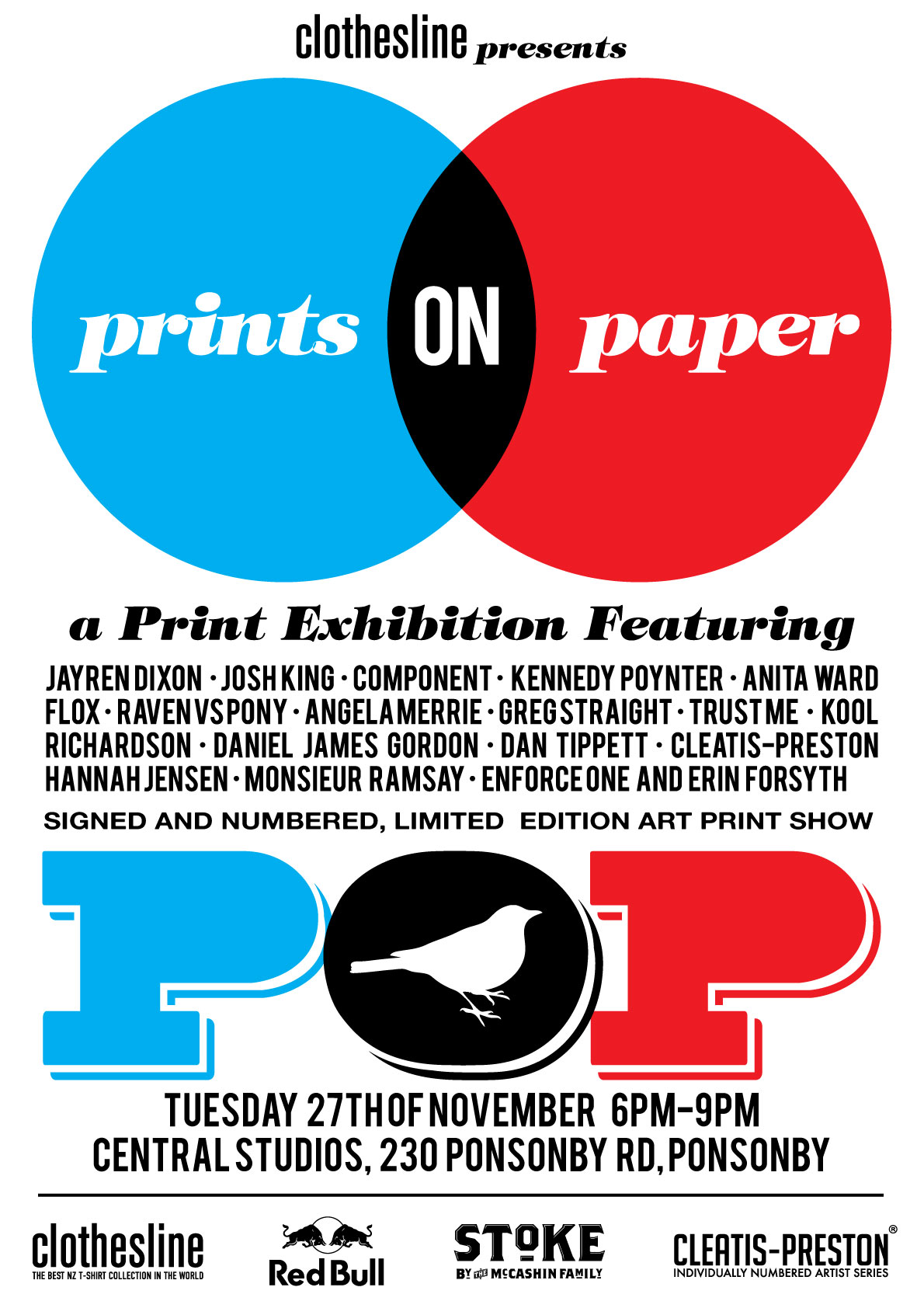 If your in Auckland on the 27th come check out the Prints On Paper show, featuring work from some amazing artists. I will be contributing 4 new A2 prints, all screenprinted by hand.