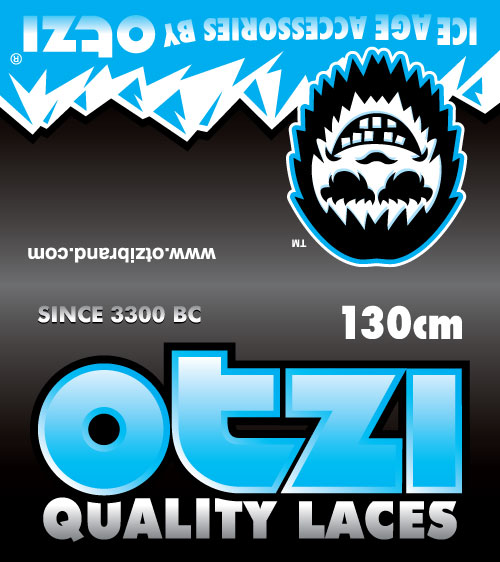 Otzi Shoe lace packet header art design by PD