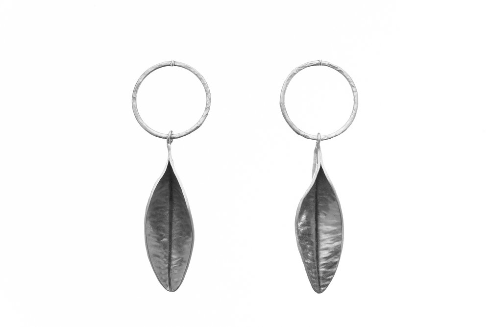 Leaf and Hoop Earrings