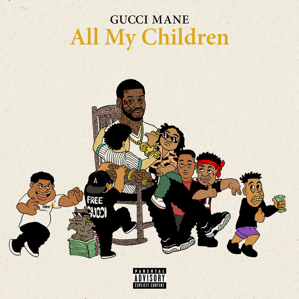 Gucci Mane - All My Children single art. Illustration by FRKO.