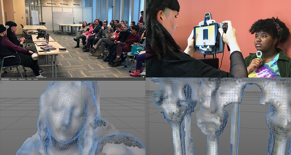 Pussykrew developed their work in the context of a 5 day residency at the Frank-Ratchye STUDIO for Creative Inquiry. The prompt: create a sensual cgi environment for Kelela's performance based on 3D scans of the Carnegie Museum of Art. Pussykrew generated a surreal representation of the museum: combining scans of existing classical, ancient and medieval sculptures from Hall of Architecture and Hall of Sculpture with liquid simulations and rich reflective textures, in order to create a neo-net-baroque landscapes. The resulting videos explored areas in-between classical beauty, tech aesthetics, and imitation of natural environment as the main components of our contemporary culture. While in residence, Pussykrew also gave a public lecture at Carnegie Mellon University on their practice and demo on how to use the Fuel3D scanner.
