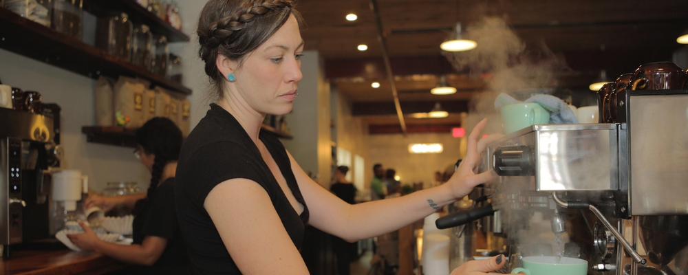 Making espresso. Photo: Jane Kortright.