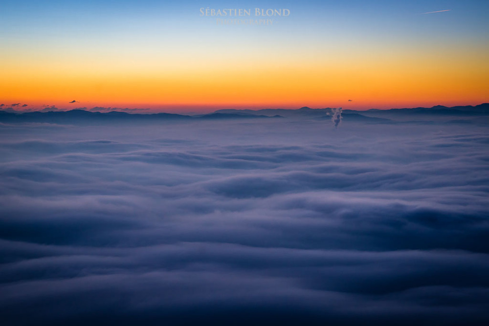 A sea of clouds covers the Ljubljana basin