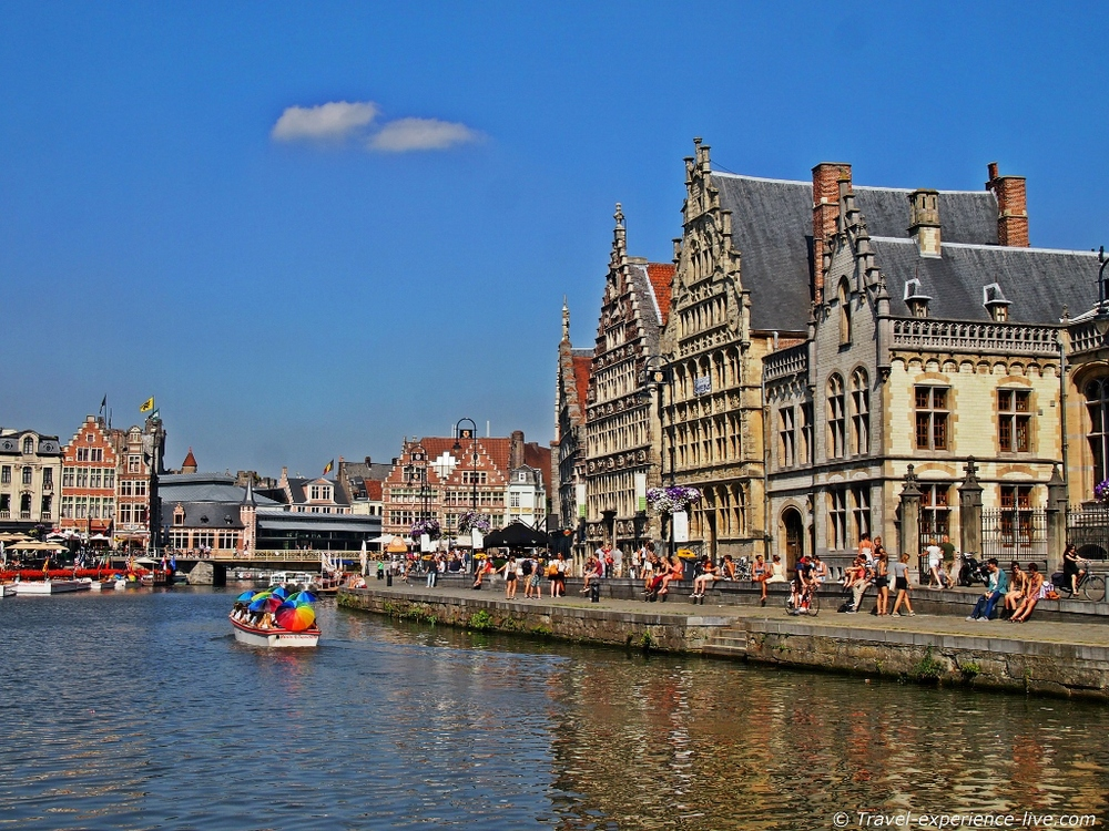 The historic houses on the canal in Ghent.