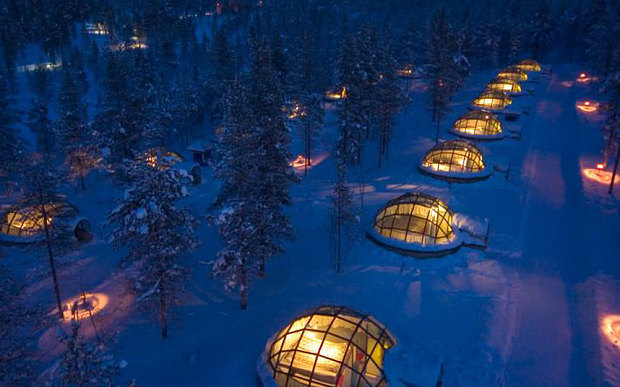 Kakslauttanen Hotel, Saariselkä, Finland — watch the Northern Lights while you work.