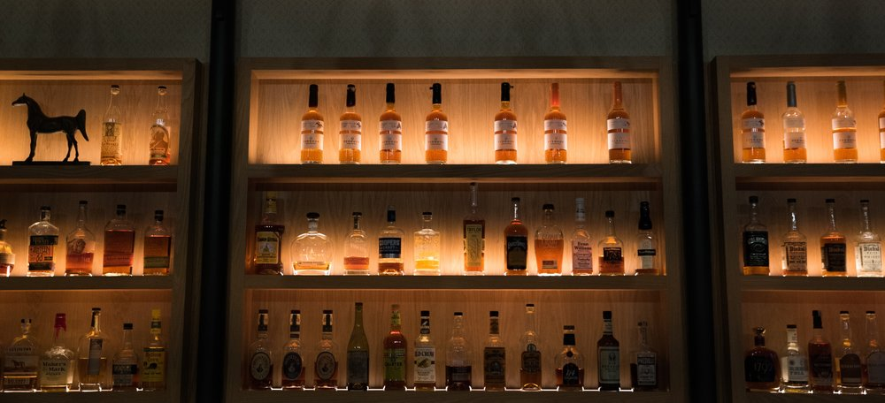 Kenton's impressive whisky collection.