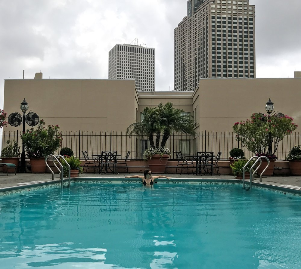 The rooftop pool at Hotel Monteleone in the French Quarter - essential after a big night on Frenchman St.