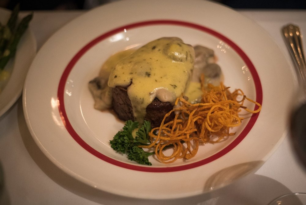 Filet Mignon Charlemonde, so tender you could literally cut it with a butter knife. Which was good, because that's what you were given.