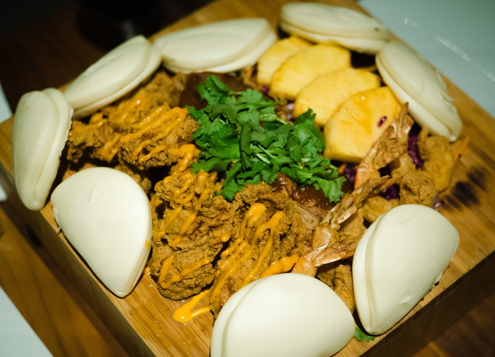 Surf and Turf Steamed Buns - pulled pork, bbq pineapple and cilantro - make it yourself!